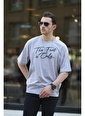 Oksit Crash Font Erkek Oversize Tshirt Gri